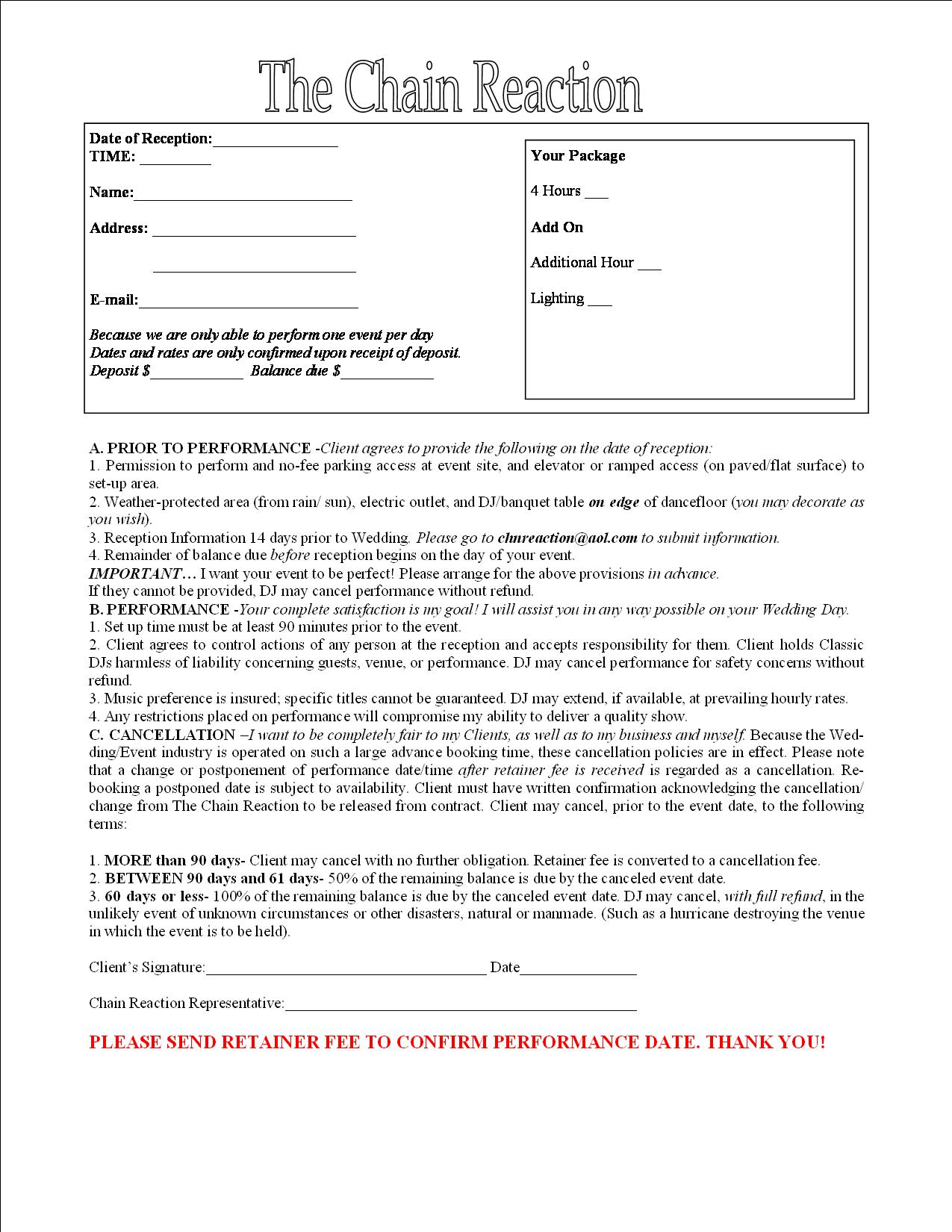Contract for entertainment central florida dj for Booking terms and conditions template