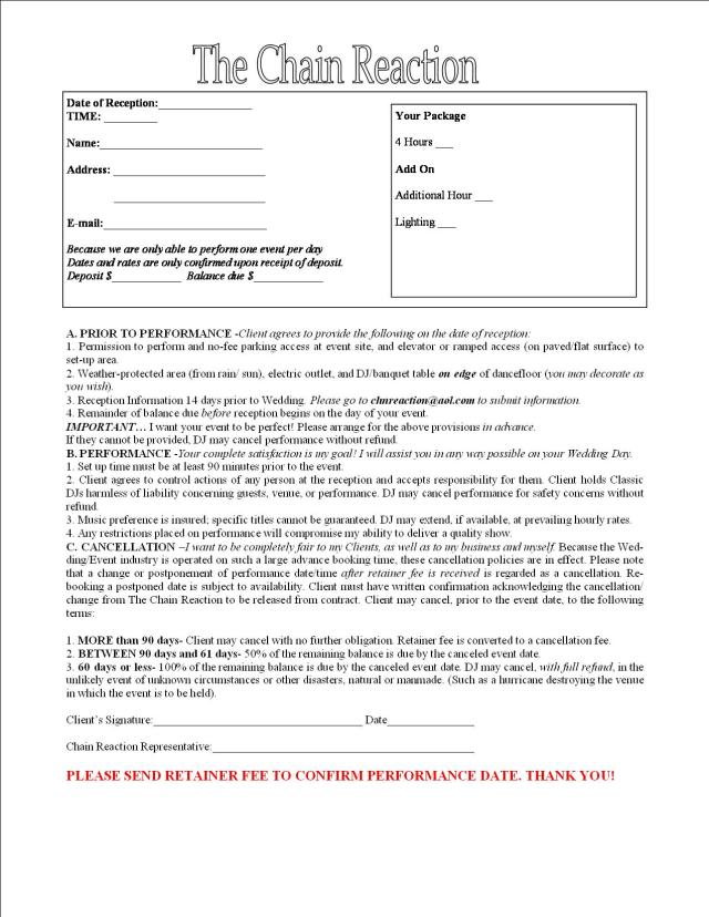 mobile dj contract template - dj engagement contract images frompo
